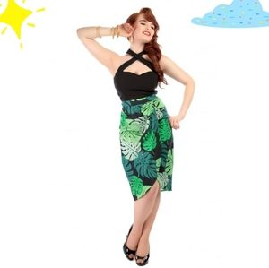 Collectif Kala Tahiti Palm Print Sarong Skirt